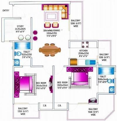 Maxblis Glory (2BHK+2T (1,350 sq ft)   Study Room Apartment 1350 sq ft)