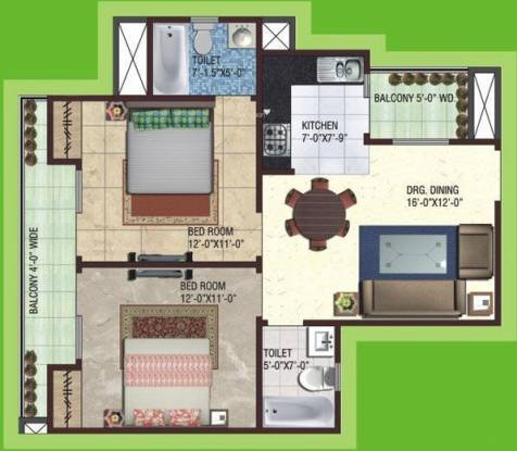 SG Impressions 58 (2BHK+2T (1,010 sq ft) Apartment 1010 sq ft)