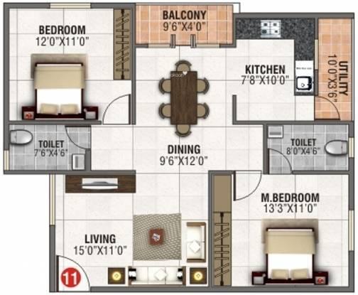 AR SLV Nivas (2BHK+2T (1,093 sq ft) Apartment 1093 sq ft)