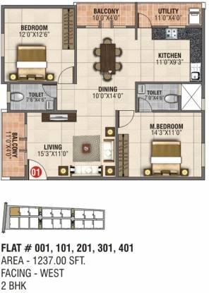 AR SLV Nivas (2BHK+2T (1,237 sq ft) Apartment 1237 sq ft)