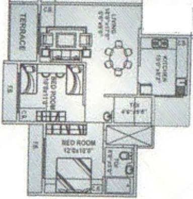Simran Sapphire (2BHK+2T (1,050 sq ft) Apartment 1050 sq ft)