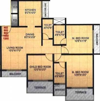 Shree Ambica Heritage (3BHK+3T (1,500 sq ft) Apartment 1500 sq ft)