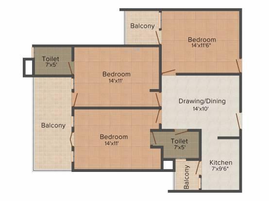SBP Southcity (3BHK+2T (1,510 sq ft) Apartment 1510 sq ft)