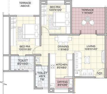 GK Jarvari (2BHK+2T (885 sq ft) Apartment 885 sq ft)