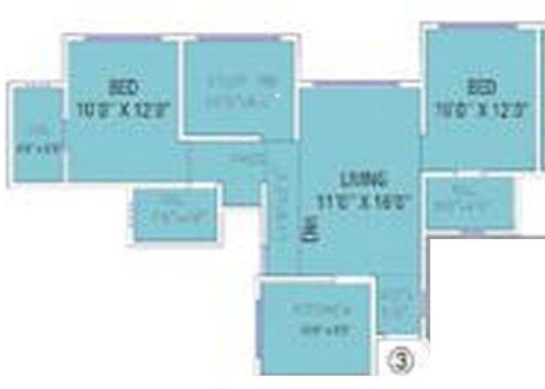 Damji Shamji Mahavir Universe (2BHK+2T (1,106 sq ft) + Study Room Apartment 1106 sq ft)