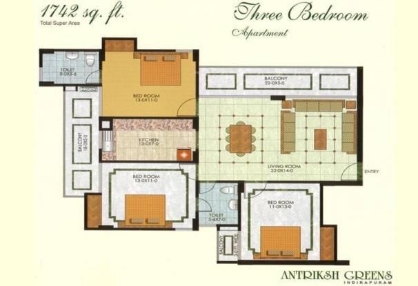 The Antriksh Greens (3BHK+2T (1,742 sq ft) Apartment 1742 sq ft)