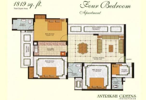 The Antriksh Greens (4BHK+3T (1,819 sq ft) Apartment 1819 sq ft)