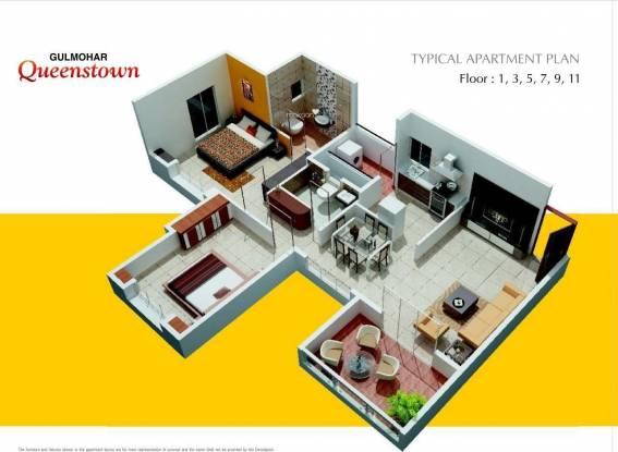 Gulmohar Queenstown (2BHK+2T (1,037 sq ft) Apartment 1037 sq ft)