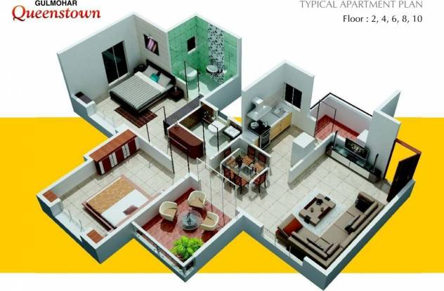 Gulmohar Queenstown (2BHK+2T (1,039 sq ft) Apartment 1039 sq ft)