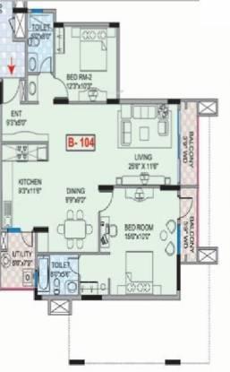 Mantri Mantri Greens (2BHK+2T (1,370 sq ft) Apartment 1370 sq ft)