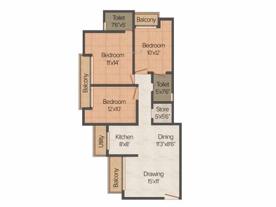 Prateek Laurel (3BHK+2T (1,385 sq ft) Apartment 1385 sq ft)