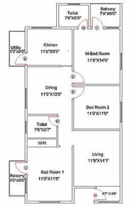 Kristal Citrine (3BHK+2T (1,350 sq ft) Apartment 1350 sq ft)
