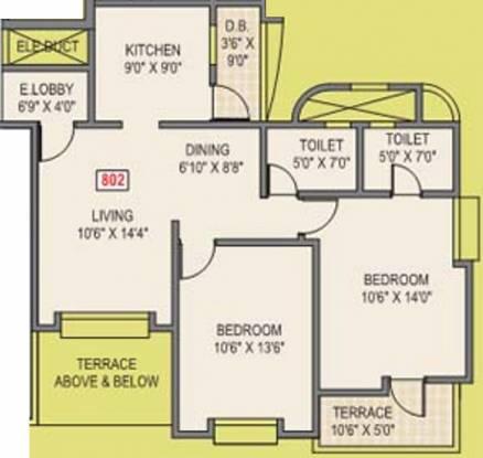 Harshad Ashok Nagar Phase I (2BHK+2T (1,009 sq ft) Apartment 1009 sq ft)