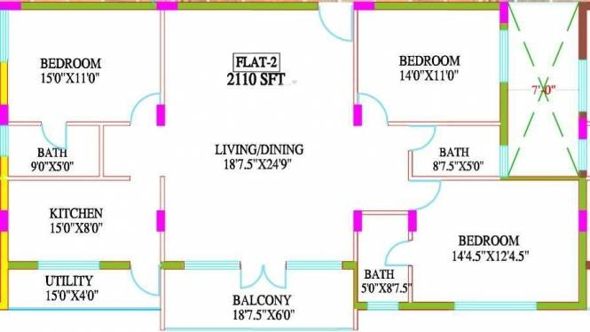 Laa Laa Royal Manor (3BHK+3T (2,110 sq ft) Apartment 2110 sq ft)