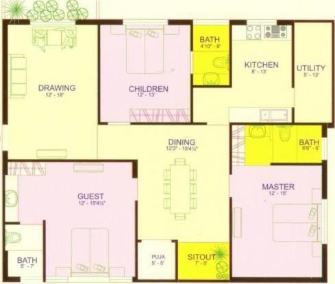 Ven Six Seasons (3BHK+3T (1,900 sq ft)   Pooja Room Apartment 1900 sq ft)
