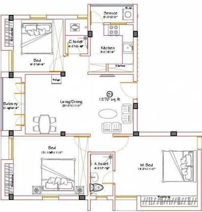 Shrusti Vasantham (3BHK+2T (1,270 sq ft) Apartment 1270 sq ft)
