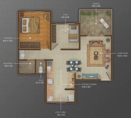 Atul Alcove (1BHK+2T (729 sq ft) + Study Room Apartment 729 sq ft)