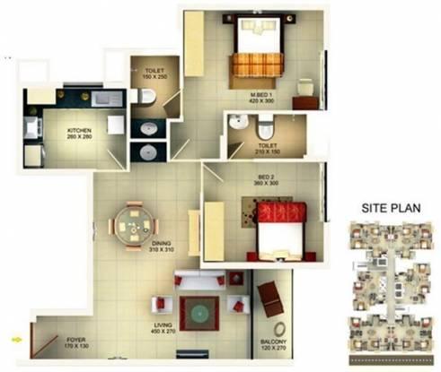 SFS Branton Park (2BHK+2T (1,030 sq ft) Apartment 1030 sq ft)