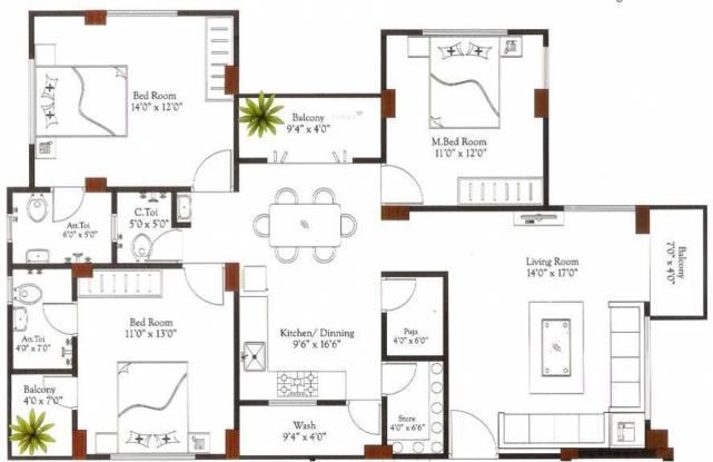 Parshva Kshama Heights (3BHK+3T (1,500 sq ft) Apartment 1500 sq ft)