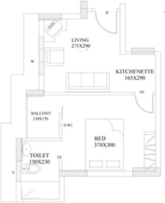 Santhi Koithara (1BHK+1T (530 sq ft) Apartment 530 sq ft)