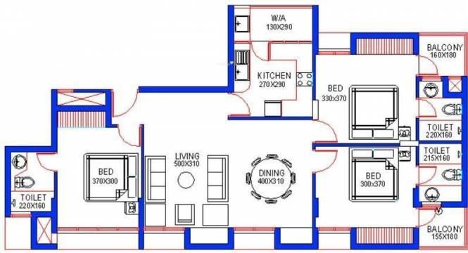 Santhi Riverdale (3BHK+3T (1,323 sq ft) Apartment 1323 sq ft)