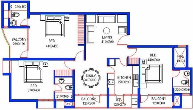 Santhi Riverdale (3BHK+3T (1,551 sq ft) Apartment 1551 sq ft)