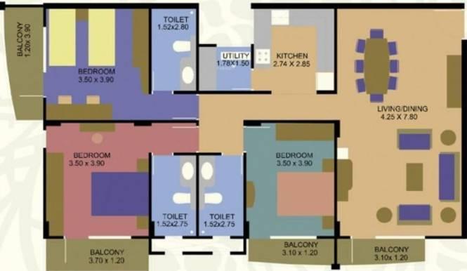 Santhi Savera (3BHK+3T (1,600 sq ft) Apartment 1600 sq ft)
