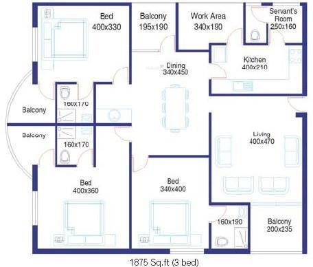 Santhi Thotekat Estate (3BHK+3T (1,875 sq ft) + Servant Room Apartment 1875 sq ft)