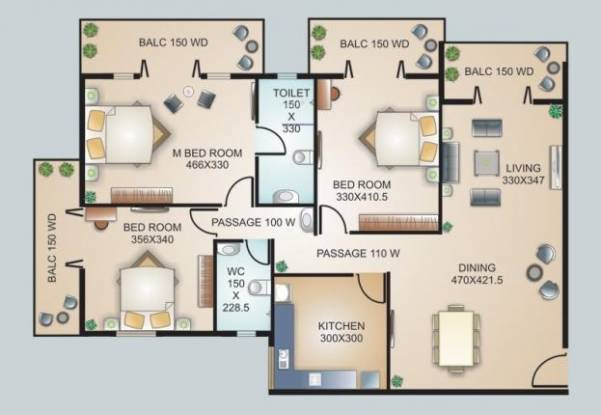 Models Models Mystique (3BHK+2T (1,560 sq ft) Apartment 1560 sq ft)