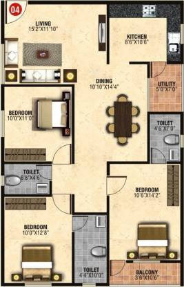 SS Felicity Homes (3BHK+3T (1,385 sq ft) Apartment 1385 sq ft)