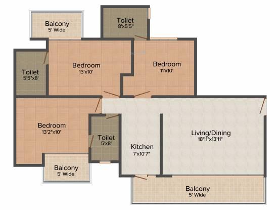 Aditya Urban Casa (3BHK+3T (1,600 sq ft) Apartment 1600 sq ft)