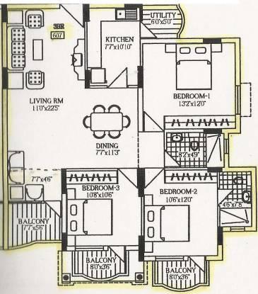 Unitech Heritage Estate (3BHK+3T (1,275 sq ft) Apartment 1275 sq ft)