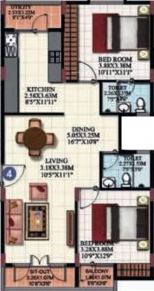 Adithya Serene (2BHK+2T (1,095 sq ft) Apartment 1095 sq ft)