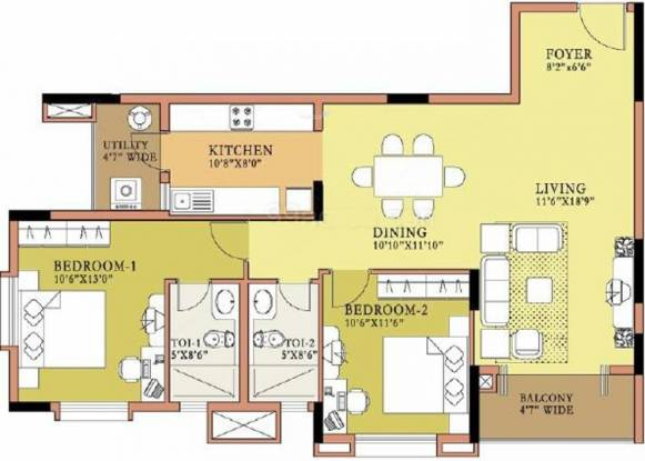 Salarpuria Sattva Symphony (2BHK+2T (1,282 sq ft) Apartment 1282 sq ft)