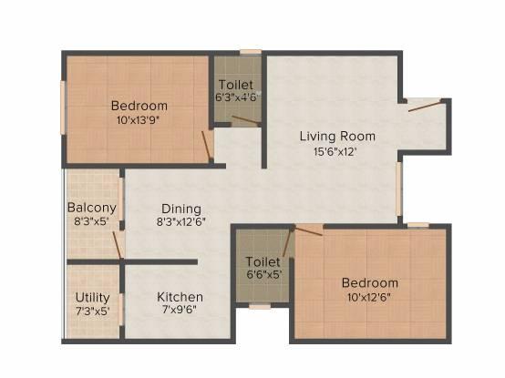 Neeladri Prince (2BHK+2T (1,135 sq ft) Apartment 1135 sq ft)