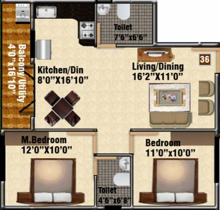 DS DSMAX STONEHILL (2BHK+2T (1,041 sq ft) Apartment 1041 sq ft)