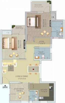 Stellar Jeevan (2BHK+3T (1,193 sq ft) + Study Room Apartment 1193 sq ft)