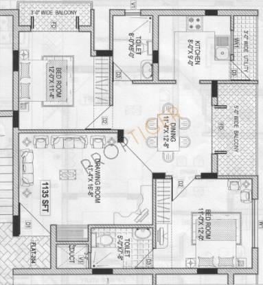 Elite Kempton Kourt (2BHK+2T (1,135 sq ft) Apartment 1135 sq ft)