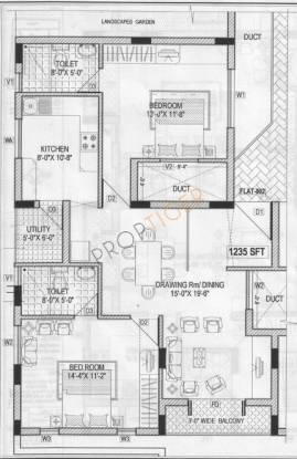 Elite Kempton Kourt (2BHK+2T (1,235 sq ft) Apartment 1235 sq ft)