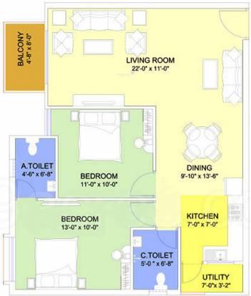 GR Queens Pride (2BHK+2T (1,100 sq ft) Apartment 1100 sq ft)