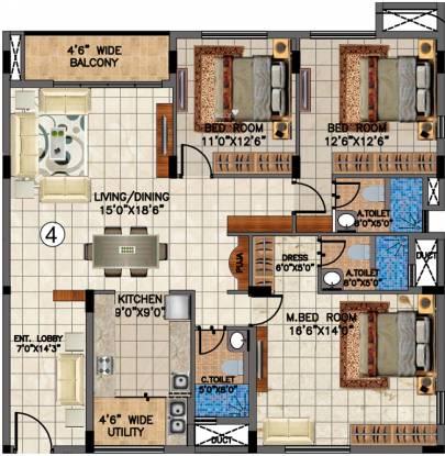 Valmark Aastha (3BHK+3T (1,870 sq ft) Apartment 1870 sq ft)