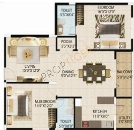 ATZ Grandeur (2BHK+2T (1,365 sq ft)   Pooja Room Apartment 1365 sq ft)