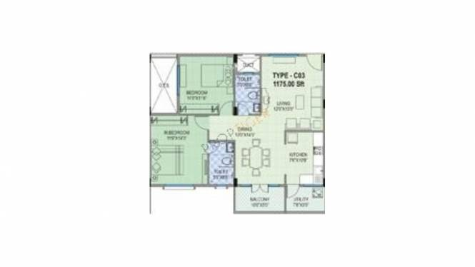 VRR Lakeview (2BHK+2T (1,175 sq ft) Apartment 1175 sq ft)