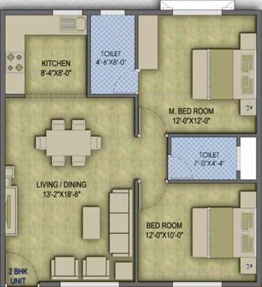 Mahima Nest (2BHK+2T (1,160 sq ft) + Pooja Room Apartment 1160 sq ft)