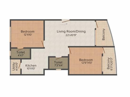 Maithri Shilphitha Royal (2BHK+2T (977 sq ft) Apartment 977 sq ft)