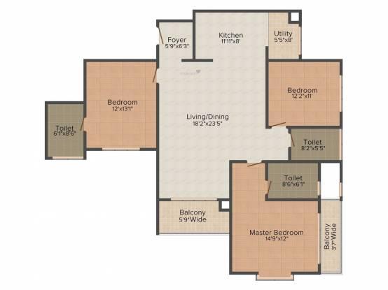 Salarpuria Sattva Greenage (3BHK+3T (1,836 sq ft) Apartment 1836 sq ft)
