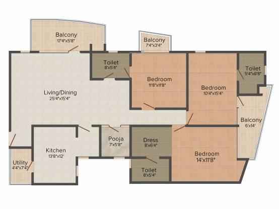 Krishna Shelton (3BHK+3T (1,897 sq ft)   Pooja Room Apartment 1897 sq ft)