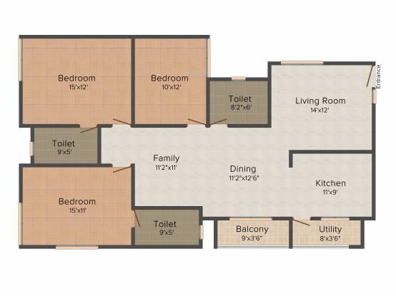 Astro Rosewood Regency (3BHK+3T (1,591 sq ft) Apartment 1591 sq ft)