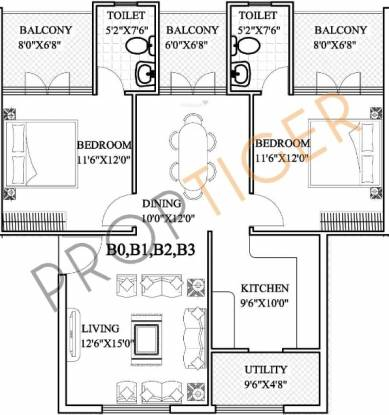 CMRS 12 Square (2BHK+2T (1,310 sq ft) Apartment 1310 sq ft)