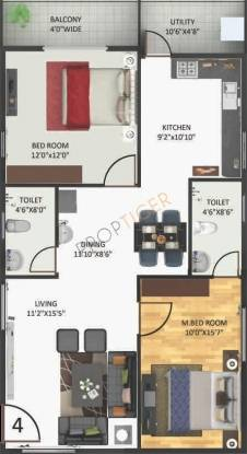 Anand Aster (2BHK+2T (1,260 sq ft) Apartment 1260 sq ft)